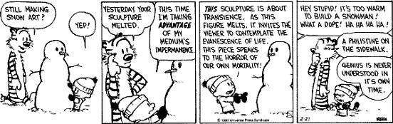 Comic 16.02.05 – Calvin & Hobbes: Trascendencia del arte