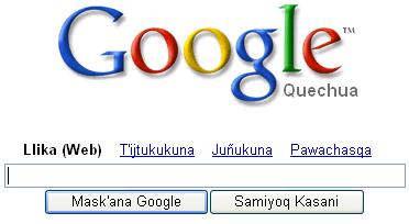 Google, traducido al Quechua